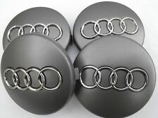 4x60mm Audi Gray Wheel Center Caps Hubcaps Emblems Rim Caps Badges Logo 4B060117