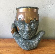 Vintage Chalkware & Copper Vase Unique Head in Hand, Tribal Stone Carved Look