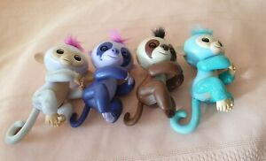 4xVintage Toy Fingerlings -interactive Baby Monkey very cute all worked 2000s