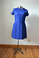 TRUE VINTAGE 1960s 60s Blue Dress Retro Medium Costume Wool