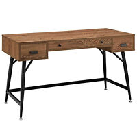 Mid-Century Industrial Rustic Writing Desk Reclaimed Wood Veneer Style 3 Drawers