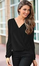 Women Sexy V-neck Tops Loose Long Sleeve T-shirt Casual Lace Splice Blouse H4