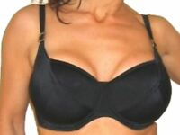 New Black Bikini Top Underwired No Padding Ladies Full-filled Supportive Cups