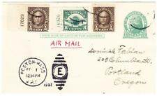 AIR MAIL-FIRST DAY 10c RATE-Postal Card-Sc#UX27-uprated #551(x2)#C4-PLATE