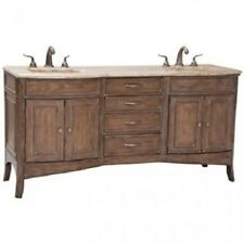 Ambella Verona Double Vanity Sink Cabinet Limed Oak Travertine Stone Top Vanity
