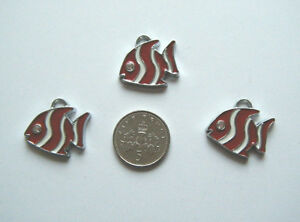 3 cute enamel tropical angel fish charms  red and white