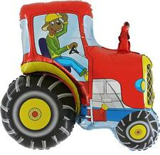 31 Inch Red Tractor Shaped Foil Balloon (CS139)
