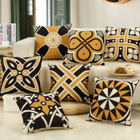 """ABSTRACT BLACK YELLOW PATTERN DECO TAPESTRY THROW PILLOW CASE CUSHION COVER 17"""""""
