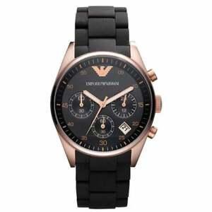 Womens Emporio Armani AR5906 Black Rose Gold Silicone Chronograph Genuine Watch