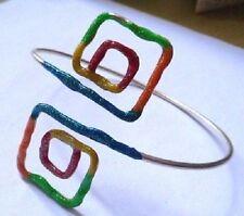 bracelet de bras rétro motif carré de couleur argent * A11
