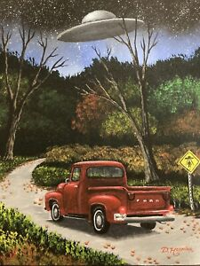 UFO Painting Alien Roswell X Files Area 51 Close Encounter Original Canvas 14x18