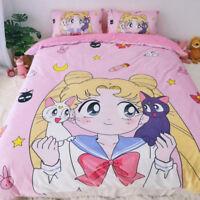 New Anime Sailor Moon Luna Cat Short Plush Bed Sheet Quilt Cover Pillowcase Gift