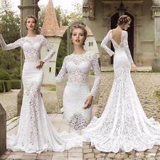 Sexy Berta Backless Mermaid Wedding Dresses Long Sleeve Bridal Gowns