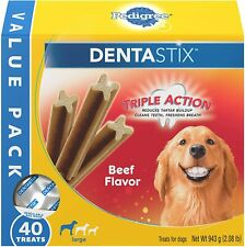 🐶 PEDIGREE DENTASTIX Large Dog Dental Treats Beef Flavor Dental Bones 2.08 lb