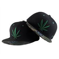 Unisexe Weed Leaf Pattern Snapback HipHop Baseball Cap Hat basecap