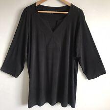 Susan Graver Women Blouse Top Black Stretch V-Neck 3/4 Sleeve Size 1X
