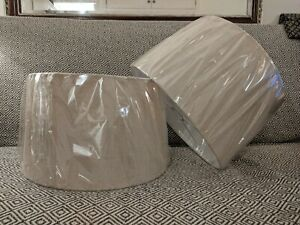 Pair of 40cm Large Natural/Beige Drum Lampshades NEW Cox & Cox