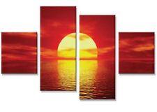 Large 4 Multi Panel Split Canvas Print   Red Orange Sunset Ocean Wall Art