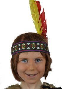 Native Red Indian Boy's Embroidered Head Band With Two Feathers. UK Fast Disp