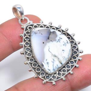 """Merlinite Dendritic Opal -Brazil 925 Sterling Silver Pendant 1.95"""" W3148"""