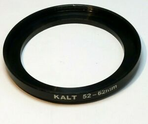 52mm to 62mm Step-up ring Metal adapter double threaded for lens filter