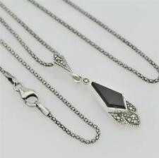 STERLING SILVER AND MARCASITE AND ONYX PENDANT NECKLACE