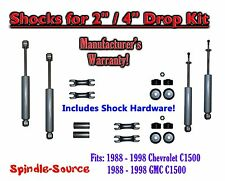 "Shock Kit for 88 - 98 Chevy / GMC C1500 w/ Drop Shackles Coils Hanger 2"" / 4"""