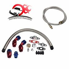 T3 T4 T04E T60 T61 T70 Turbo Charger Oil Drain Return + Feed Line Complete Kit