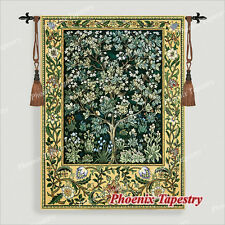 "SMALL William Morris Tree of Life Tapestry Wall Hanging, GREEN, 36"" x 27"", US"