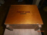 Vintage 1950`s / 60`s First Aid Kit in Wooden Case / Box + Contents - FREE P&P