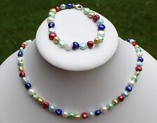 BRA24 46cm Echt Süßwasser Perlen Schmuck Perlenkette Halskette Collier Armbänder