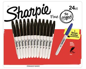 24 SHARPIE Black Permanent Marker Pen Sharpies Bulk Texta Fine Point Set New