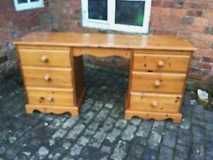 Lovely Pine Kneehole Desk / Dressing Table