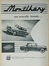 PUBLICITÉ DE PRESSE 1957 MONTLHÉRY UNE NOUVELLE ARONDE SIMCA