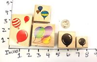 Wooden RUBBER STAMP Block Lot Balloons Party Invitation Hot Air Ballon