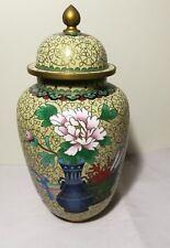 Chinese Brass Cloisonne  Enamel lidded vase H28cm