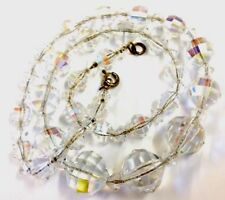 Vintage Silver Chain Graduated Aurora Borealis Glass Bead Necklace Gift Boxed
