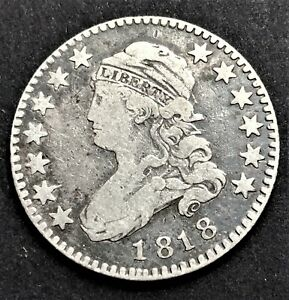 USA/ Quarter Dollar 1818/ Capped Bust/ KM.44/ Excellent Condition/ SILVER COIN