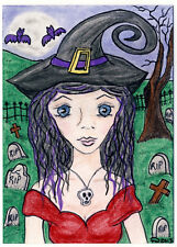 TAMBRA Halloween Landscape MOON Cemetery WITCH Bats ACEO Art Original Painting