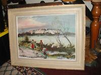 Vintage Oil painting On Board By Scott-Winter Scene Balkan Men In Country River