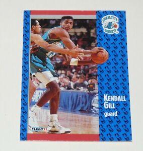KENDALL GILL CHARLOTTE HORNETS 1991 NBA BASKETBALL FLEER 91 CARD