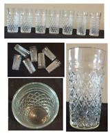 VINTAGE Drinking Glass Tumblers 14 oz & 12 oz Diamond Cut Pressed Glass 7-PC Set