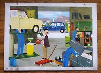 carte d'école - affiche scolaire 1960 - le garage et le zoo