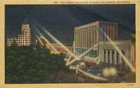 Linen Postcard CA K180 Hollywood Boulevard at Night Spotlights Cancel 1947