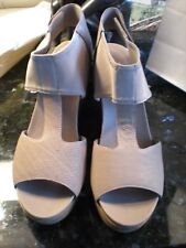 NEW  EILEEN FISHER  Wedge Sandals   Taupe Leather & Mesh   Size 11 NEW