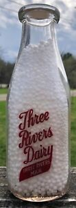 Three Rivers Dairy -  Michigan - sq tall red pyro qt milk bottle w/ proper cap