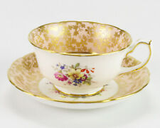 Hammersley Pink w Gold Overlay Cup & Saucer Set, Vintage 3243 Bone China England