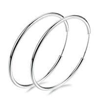 Women's 925 Silver Big Large Round Circle Ear Hoop Wedding Earrings Jewelry Gift