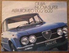 ALFA ROMEO GIULIA NUOVA SUPER 1300 1600 orig 1976 Italian Mkt Brochure - 1.3 1.6