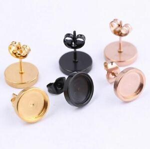 10 Ohrstecker 6 8 10 12 mm Silber Gold Rose schwarz Rohlinge Fassung Cabochons
